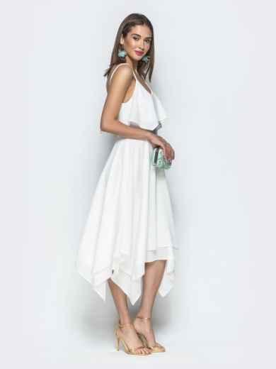 Белое платье с воланом по верху и асимметричной юбкой 39390, фото 4