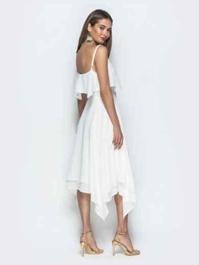 Белое платье с воланом по верху и асимметричной юбкой 39390, фото 5