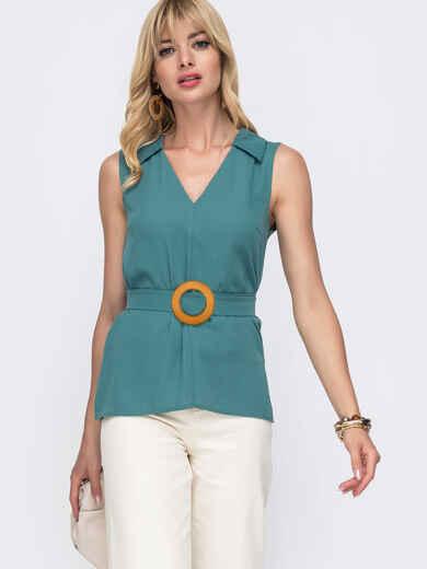 Бирюзовая блузка с V-вырезом и разрезами по бокам 49121, фото 1