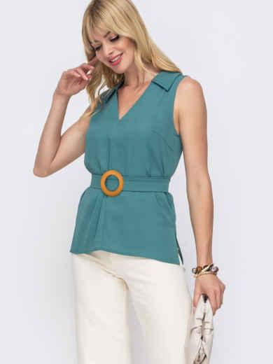 Бирюзовая блузка с V-вырезом и разрезами по бокам - 49121, фото 2 – интернет-магазин Dressa