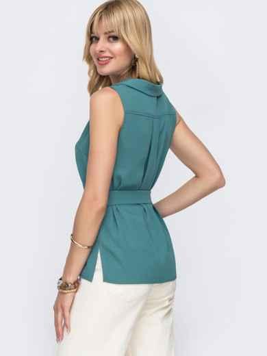 Бирюзовая блузка с V-вырезом и разрезами по бокам - 49121, фото 3 – интернет-магазин Dressa