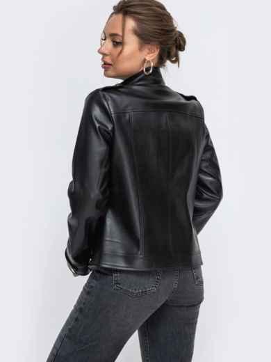 Чёрная косуха из эко-кожи с карманами на молнии 50638, фото 3