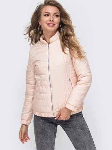 Демисезонная куртка с резинкой по низу пудровая 50641, фото 2