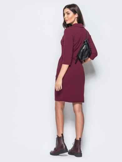 Платье бордового цвета с юбкой-тюльпан и отложным воротником - 17560, фото 2 – интернет-магазин Dressa