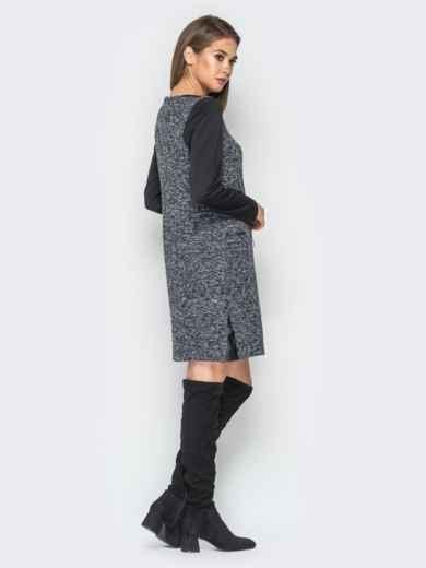 Платье из букле со вставками из эко-кожи черное - 18290, фото 2 – интернет-магазин Dressa