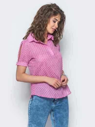 Розовая рубашка с мелкой вышивкой - 12895, фото 2 – интернет-магазин Dressa
