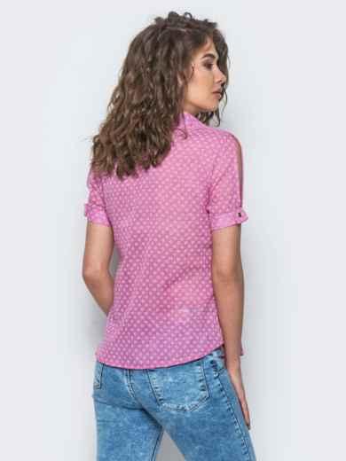Розовая рубашка с мелкой вышивкой - 12895, фото 3 – интернет-магазин Dressa