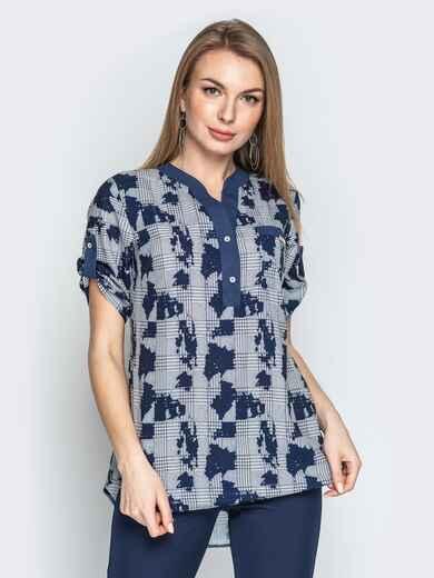 Серая блузка в клетку с контрастной окантовкой и карманом - 21169, фото 1 – интернет-магазин Dressa
