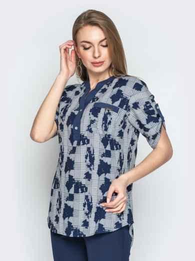 1f8dfd97fa1 Серая блузка в клетку с контрастной окантовкой и карманом 21169 ...