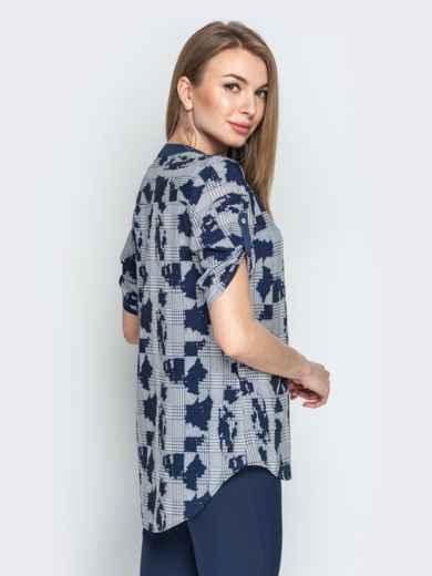 Серая блузка в клетку с контрастной окантовкой и карманом - 21169, фото 3 – интернет-магазин Dressa