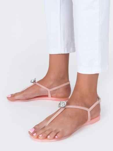 Силиконовые босоножки розового цвета с камнем  - 49751, фото 2 – интернет-магазин Dressa