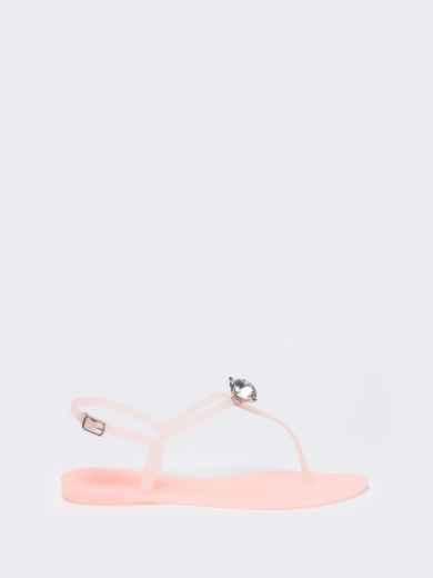 Силиконовые босоножки розового цвета с камнем  - 49751, фото 3 – интернет-магазин Dressa