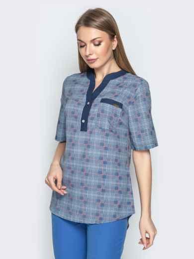 edc624680e3 Синяя блузка в клетку с контрастной окантовкой и карманом 21167 ...