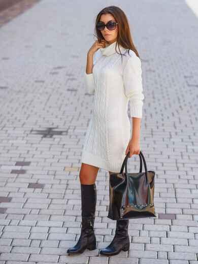 Вязаное платье с воротником-хомут белое 13164, фото 1