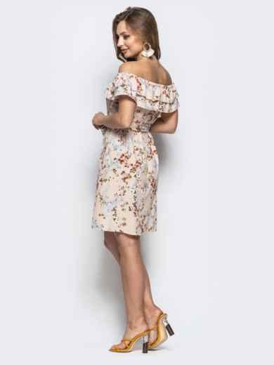 """Бежевое платье с цветочным принтом и горловиной """"анжелика"""" - 21473, фото 3 – интернет-магазин Dressa"""