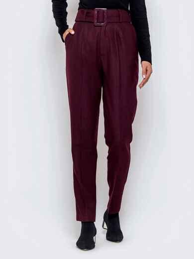 Бордовые брюки-каррот с широким поясом - 40979, фото 1 – интернет-магазин Dressa