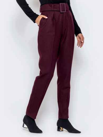 Бордовые брюки-каррот с широким поясом - 40979, фото 2 – интернет-магазин Dressa