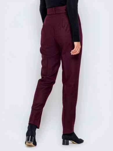 Бордовые брюки-каррот с широким поясом - 40979, фото 3 – интернет-магазин Dressa
