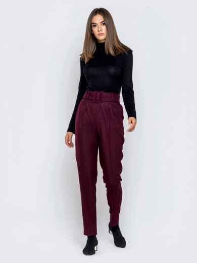 Бордовые брюки-каррот с широким поясом - 40979, фото 4 – интернет-магазин Dressa