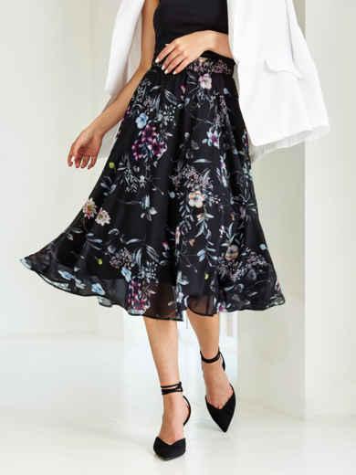 Черная юбка-миди из шифона с цветочным принтом 54420, фото 1