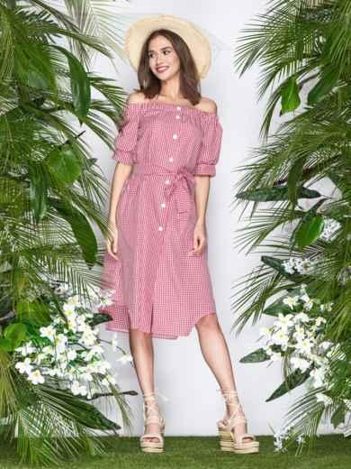 Коттоновое платье в клетку с открытыми плечами красное - 21478, фото 1 – интернет-магазин Dressa