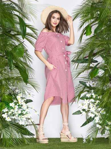 Коттоновое платье в клетку с открытыми плечами красное - 21478, фото 3 – интернет-магазин Dressa