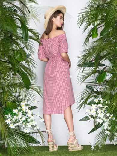 Коттоновое платье в клетку с открытыми плечами красное - 21478, фото 4 – интернет-магазин Dressa
