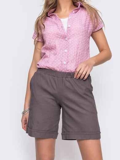 Льнянные шорты графитового цвета с резинкой по талии 48174, фото 1