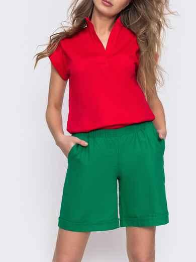 Льнянные шорты зеленого цвета с резинкой по талии 48175, фото 1