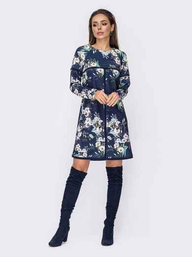 Темно-синє плаття-трапеція з квітковим принтом 52673, фото 1