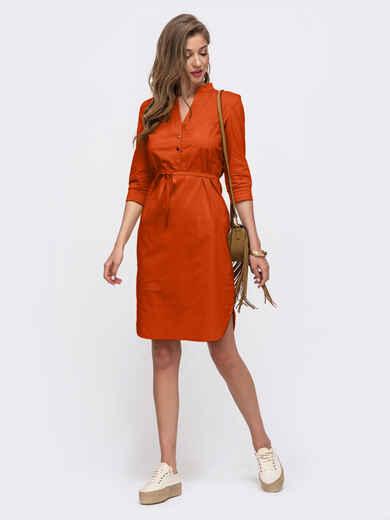 Терракотовое платье-рубашка прямого кроя на кнопках 54121, фото 1