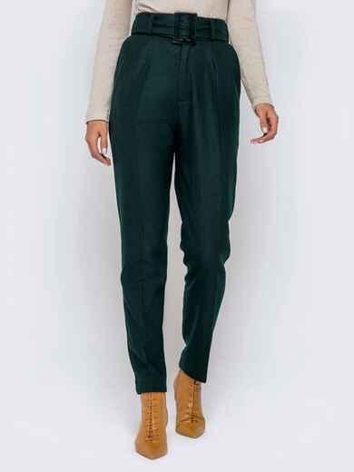 Зеленые брюки-каррот с широким поясом 40978, фото 1
