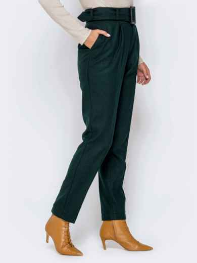 Зеленые брюки-каррот с широким поясом 40978, фото 3