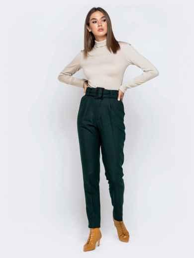 Зеленые брюки-каррот с широким поясом 40978, фото 5