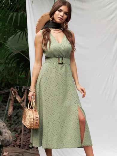 Зеленое платье из софта с поясом 53787, фото 1