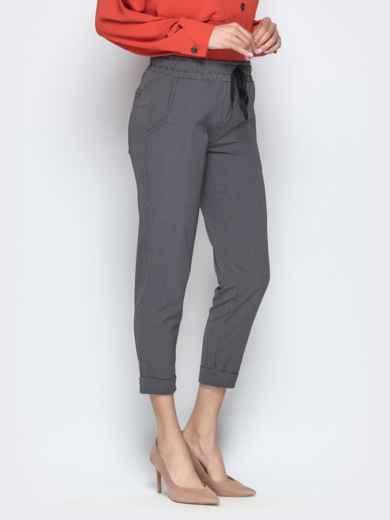 Чёрные брюки в клетку с отворотами и резинкой по талии - 21282, фото 2 – интернет-магазин Dressa