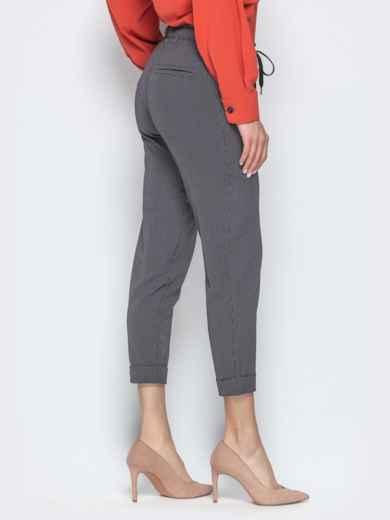 Чёрные брюки в клетку с отворотами и резинкой по талии - 21282, фото 3 – интернет-магазин Dressa