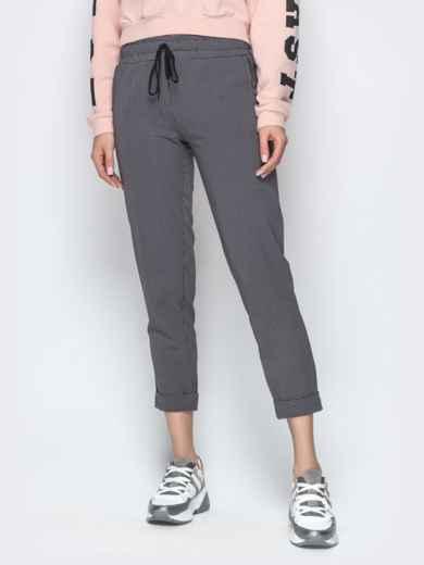 Чёрные брюки в клетку с отворотами и резинкой по талии - 21282, фото 4 – интернет-магазин Dressa