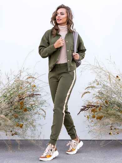 Комплект с брюками-джоггерами и жакетом хаки 40658, фото 3