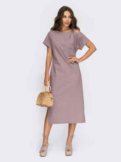 Прямое платье из льна с открытым плечом коричневое 54508, фото 1