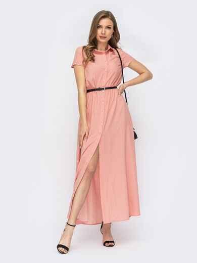 Розовое платье-рубашка в горох на пуговицах 53788, фото 1