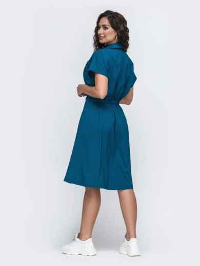 Синее платье-рубашка большого размера с кулиской по талии 49941, фото 2
