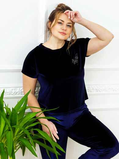 Тёмно-синяя пижама батал из велюра с футболкой и брюками 53393, фото 1