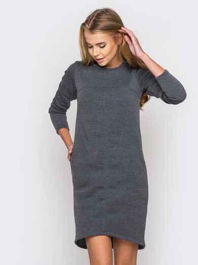 Теплое платье из трехнитки на флисе серое - 18299, фото 1 – интернет-магазин Dressa