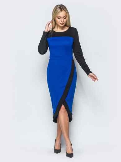 Трикотажное платье с юбкой на ложный запах синее - 17543, фото 1 – интернет-магазин Dressa