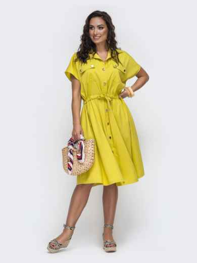 Желтое платье-рубашка большого размера с кулиской по талии 49942, фото 1