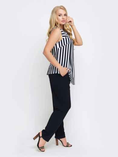 Брючный комплект с блузкой в полоску чёрный 25779, фото 2