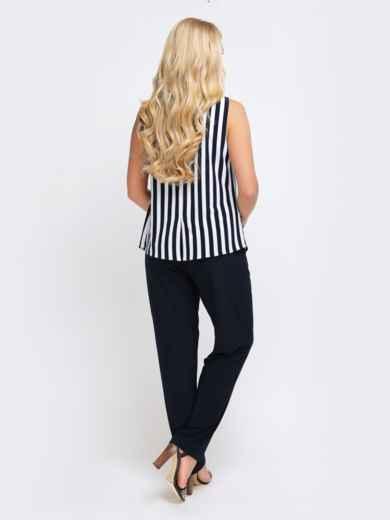 Брючный комплект с блузкой в полоску чёрный 25779, фото 3