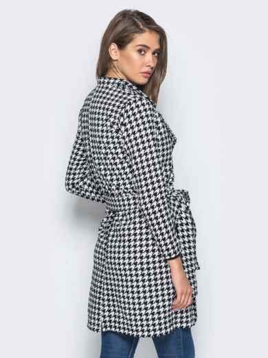 Кардиган с вышивкой на кармане и с поясом бело-черный - 15739, фото 3 – интернет-магазин Dressa