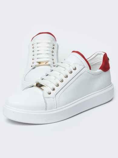 Низкие кеды белого цвета с контрастными вставками - 21423, фото 3 – интернет-магазин Dressa